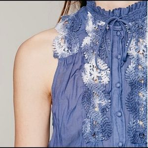 FREE PEOPLE Crochet Lace Neck Victorian Top